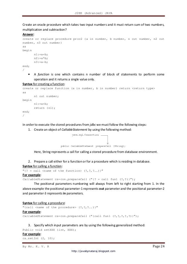 Advanced java jee material by KV Rao sir
