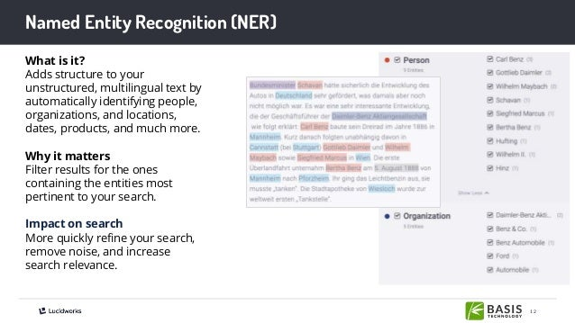 12 Named Entity Recognition (NER) What is it? Adds structure to your unstructured, multilingual text by automatically iden...