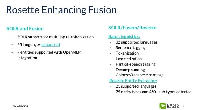 14 SOLR and Fusion Rosette Enhancing Fusion - SOLR support for multilingual tokenization - 35 languages supported - 7 enti...
