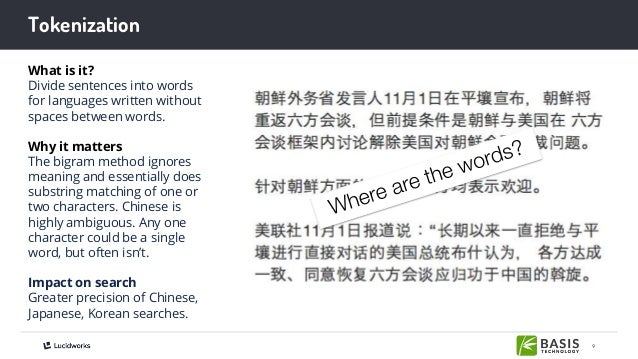 9 Tokenization What is it? Divide sentences into words for languages written without spaces between words. Why it matters ...