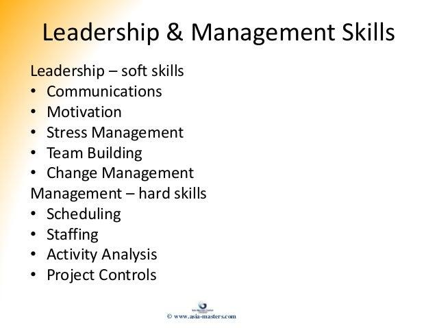 Leadership & Management Skills Leadership – soft skills • Communications • Motivation • Stress Management • Team Building ...