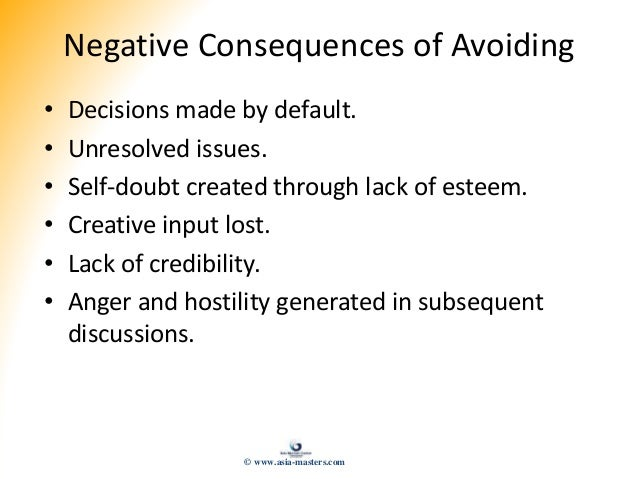 Negative Consequences of Avoiding • Decisions made by default. • Unresolved issues. • Self-doubt created through lack of e...