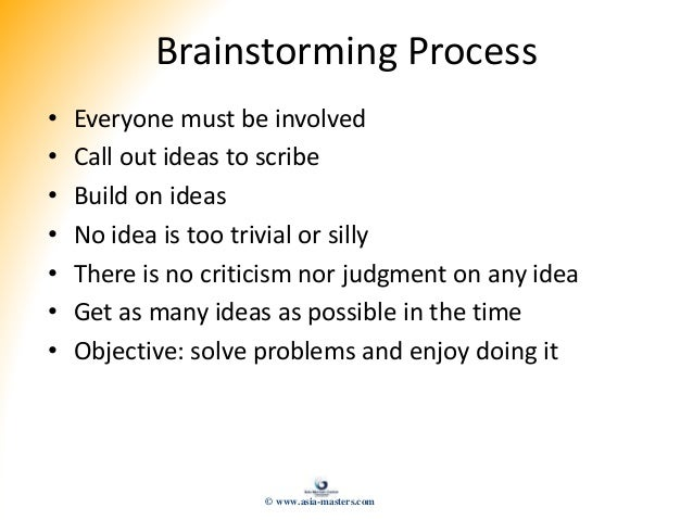 Brainstorming Process • Everyone must be involved • Call out ideas to scribe • Build on ideas • No idea is too trivial or ...