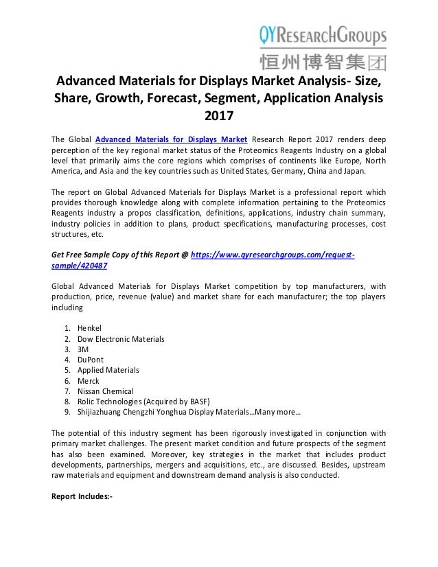 Advanced Materials for Displays Market analysis size, share