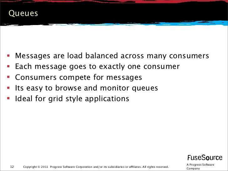 Queues    Messages are load balanced across many consumers    Each message goes to exactly one consumer    Consumers co...