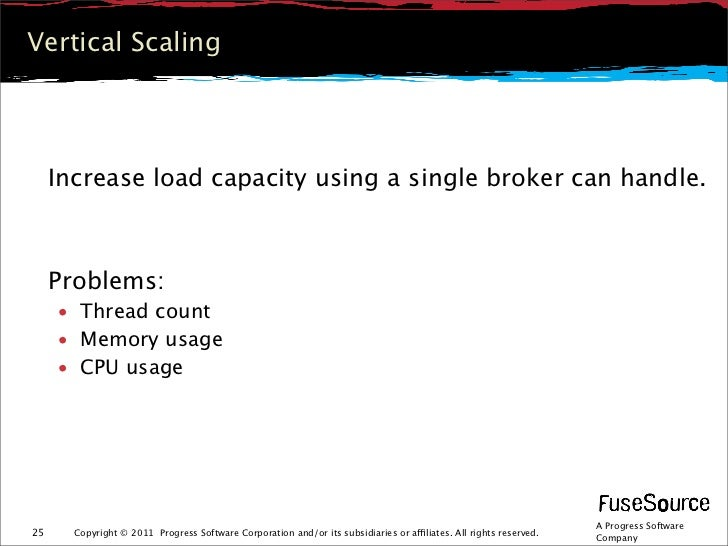 Vertical Scaling     Increase load capacity using a single broker can handle.     Problems:     • Thread count     • Memor...
