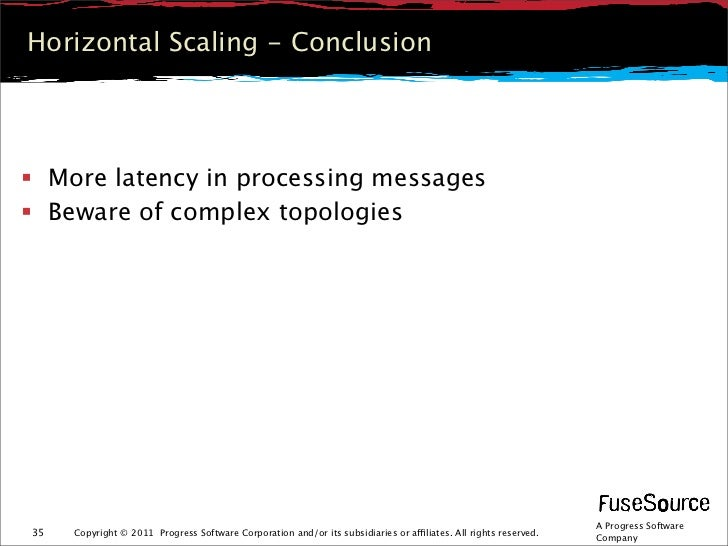 Horizontal Scaling - Conclusion More latency in processing messages Beware of complex topologies                        ...