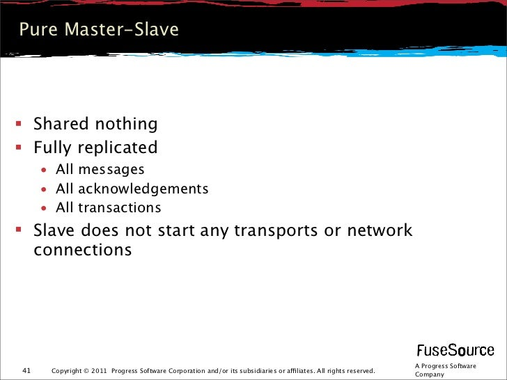 Pure Master-Slave Shared nothing Fully replicated     • All messages     • All acknowledgements     • All transactions ...