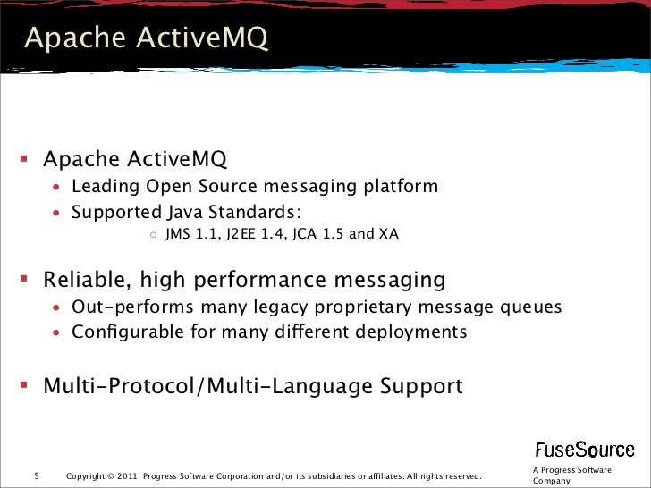 Apache ActiveMQ Apache ActiveMQ     • Leading Open Source messaging platform     • Supported Java Standards:             ...