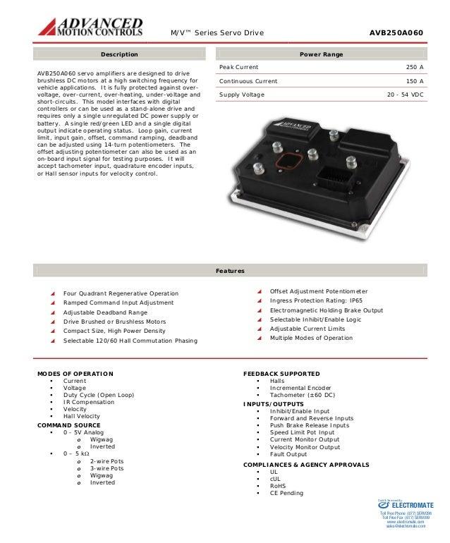 M/V™ Series Servo Drive AVB250A060  Description  Power Range  AVB250A060 servo amplifiers are designed to drive brushless ...