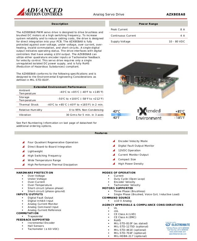 Analog Servo Drive AZXBE8A8  Description  Power Range  The AZXBE8A8 PWM servo drive is designed to drive brushless and bru...