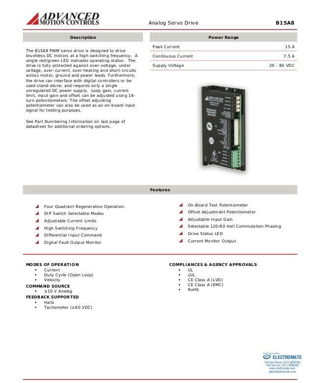 ADVANCED MOTION CONTROLS  B15A8 N Brushless PWM Servo Amplifier NEW
