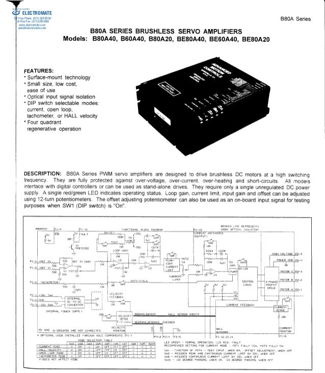 BSOA SERIES BRUSHLESS  Models: 880A40, 860A40, 880A20,  BSOA  SERVO AMPLIFIERS  8E80A40, BE60A40, BE80A20  Series  ELECTRO...