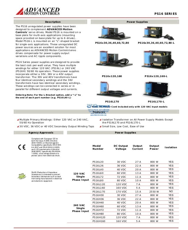 PS16 SERIES  Description Power Supplies  PS16x30,36,40,60,72,80 PS16x30,36,40,60,72,80-L  PS16x120,160 PS16x120,160-L  The...