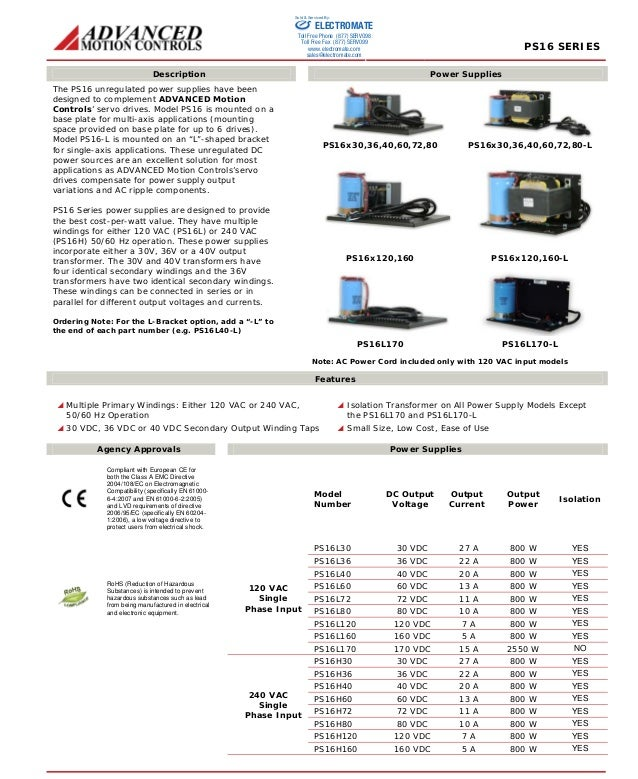 PS16 SERIES  Sold & Serviced By:  ELECTROMATE  Toll Free Phone (877) SERVO98  Toll Free Fax (877) SERV099  www.electromate...
