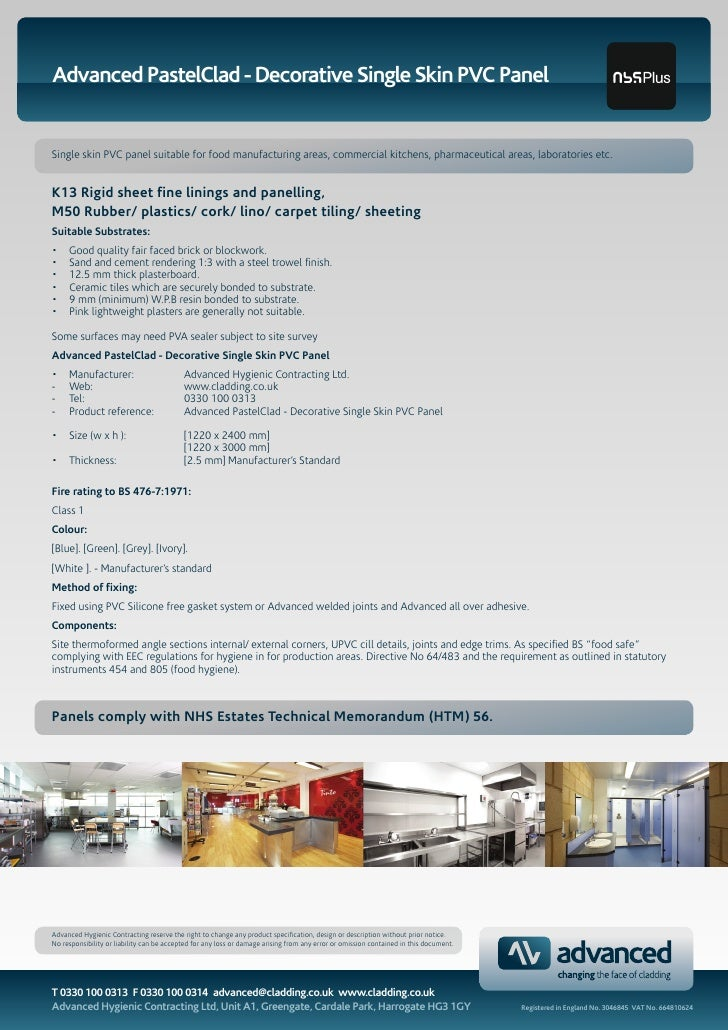 Advanced PastelClad - Decorative Single Skin PVC Panel   Single skin PVC panel suitable for food manufacturing areas, comm...