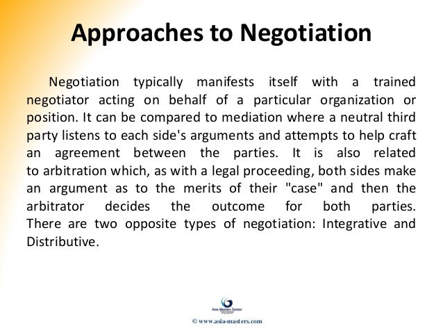 four approaches to negotiations Definitions for commonly used business negotiation words and phrases  the  most popular way to divide the typical negotiation styles or approaches are:   four important points about how parties can publicly expose the.