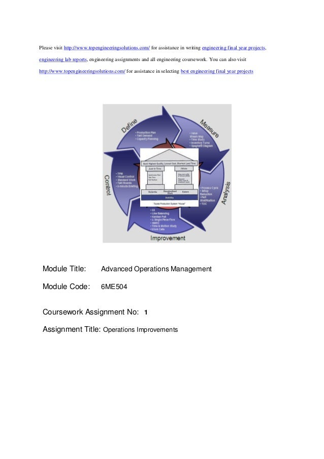 assignment operations management final Unit 1: introduction to operations and supply management unit 2: project  management  must achieve a passing grade of 50% or higher on the overall  course, and 50% or higher on the final mandatory exam assignment 1: module 1 , 15.