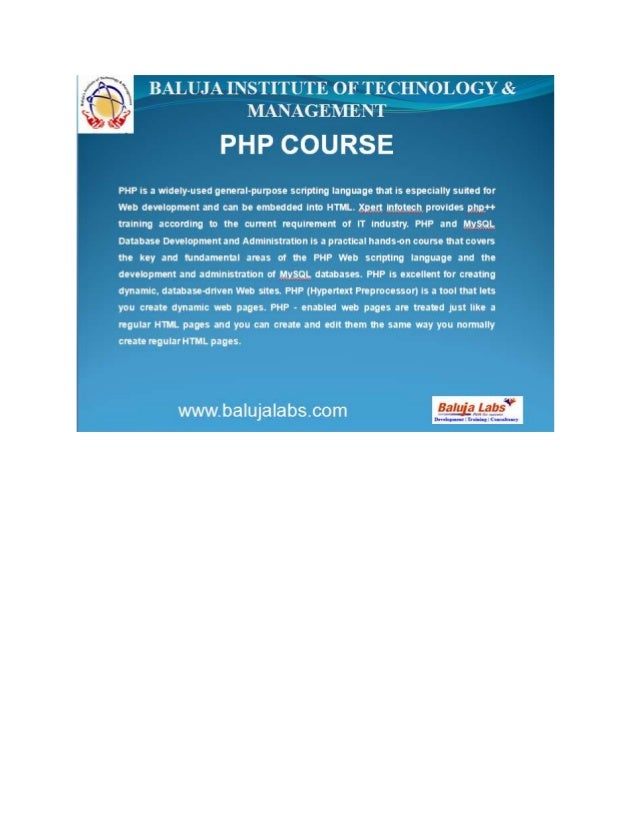 Advanced php course