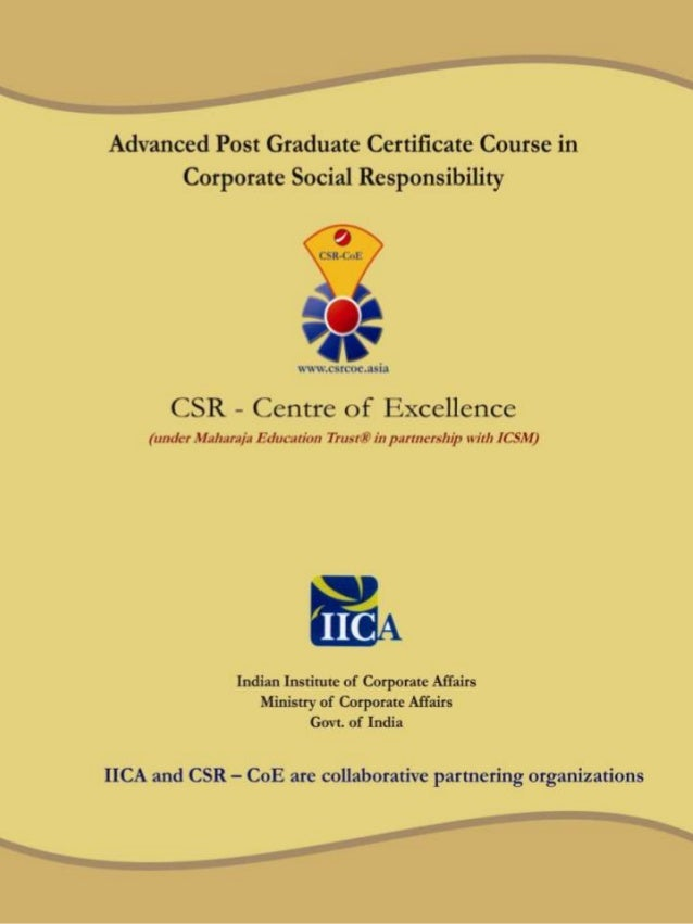 Advanced Post Graduate Certificate Course In Csr
