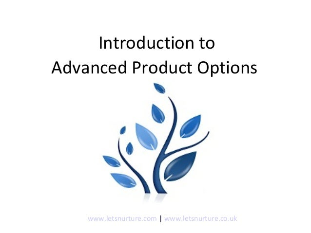 Introduction to Advanced Product Options www.letsnurture.com | www.letsnurture.co.uk