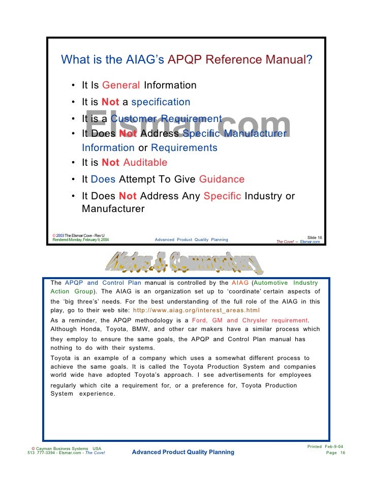 advanced product quality planning apqp pdf