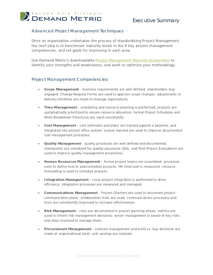 Executive SummaryAdvanced Project Management TechniquesOnce an organization undertakes the process of standardizing Projec...