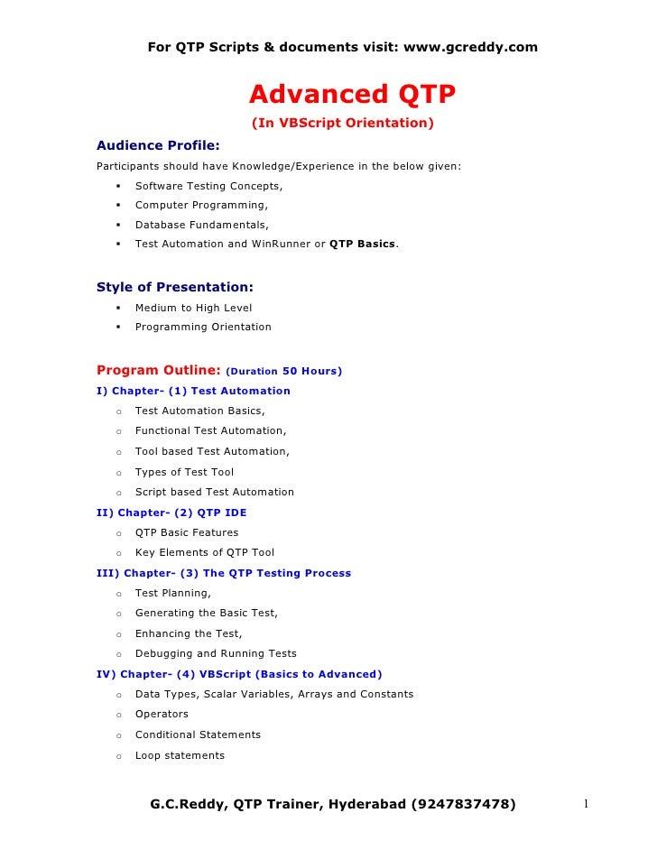 For QTP Scripts & documents visit: www.gcreddy.com                                 Advanced QTP                           ...