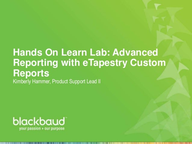 Hands On Learn Lab: Advanced Reporting with eTapestry Custom Reports Kimberly Hammer, Product Support Lead II