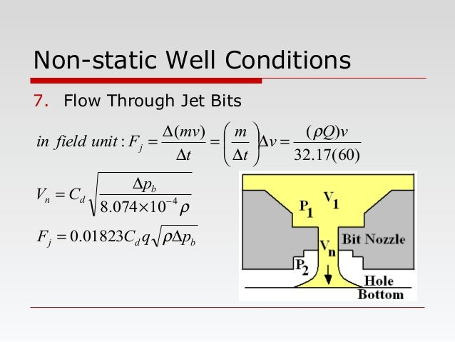 Non-static Well Conditions 7. Flow Through Jet Bits bdj b dn j pqCF p CV vQ v t m t mv Funitfieldin ∆= × ∆ = =∆     ...