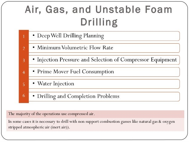 Minimum Volumetric Flow Rate  condition is rarely observed due to two air and gas drilling operational facts: 1) As the d...