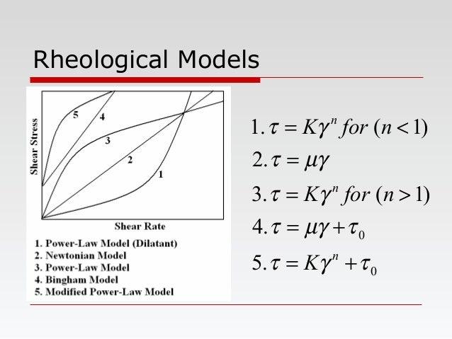 Rheological Models 0 0 .5 .4 )1(.3 .2 )1(.1 τγτ τµγτ γτ µγτ γτ += += >= = <= n n n K nforK nforK