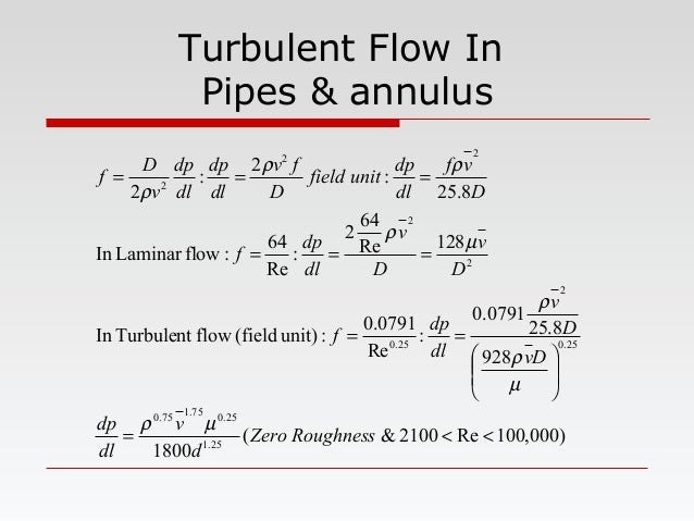 Turbulent Flow In Pipes & annulus )000,100Re2100&( 1800 928 8.25 0791.0 : Re 0791.0 :unit)(fieldflowTurbulentIn 128Re 64 2...