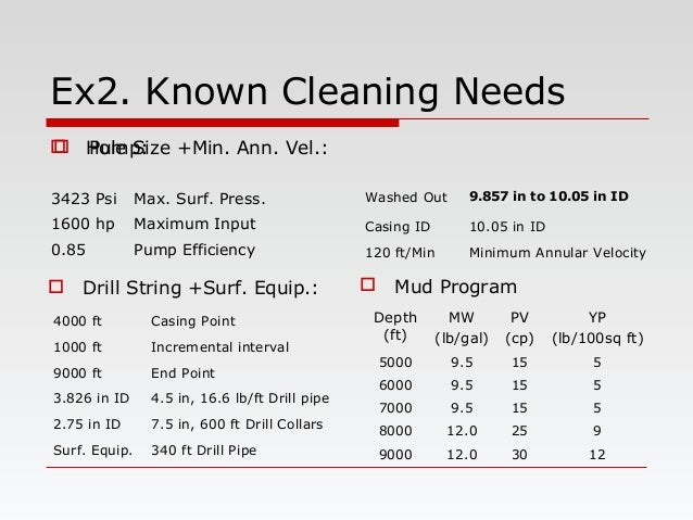 Ex2. Known Cleaning Needs  Hole Size +Min. Ann. Vel.:  Drill String +Surf. Equip.:  Mud Program  Pump: 3423 Psi Max. S...