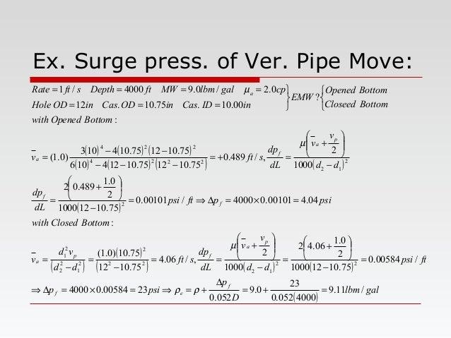 Ex. Surge press. of Ver. Pipe Move: ( ) ( ) ( ) ( ) ( ) ( ) ( ) ( ) ( ) ( ) ( ) ( ) ( ) ( ) gallbm D p psip ftpsi dd v v d...