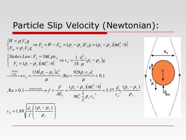 Particle Slip Velocity (Newtonian): ( ) ( ) ( ) ( ) ( )         − = − = − == →> <= − = → −=⇒    −= = −=−...