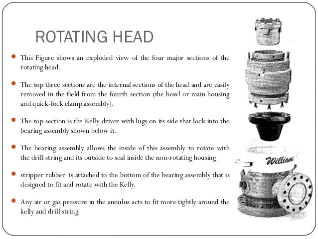 ROTATING HEAD  In order to place the drill string and Kelly into the well, the quick-lock clamp must be unlocked and the ...