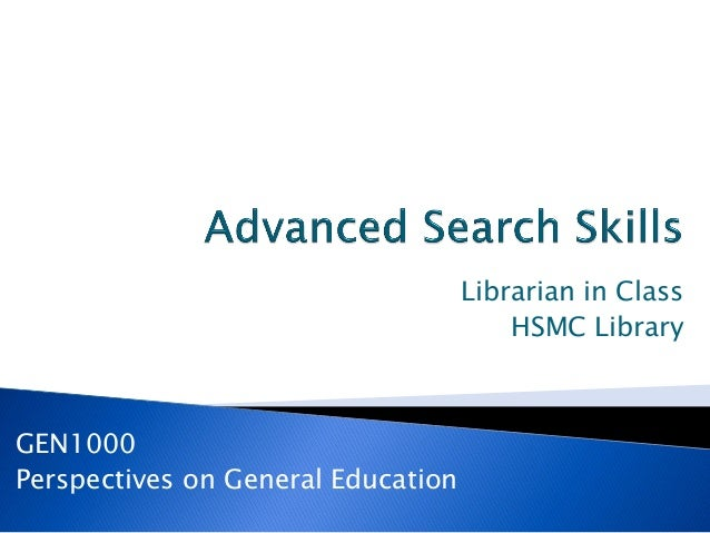 GEN1000 Perspectives on General Education Librarian in Class HSMC Library