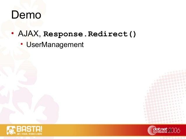 28 Demo • AJAX, Response.Redirect() • UserManagement