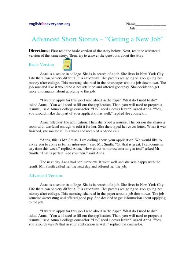 "englishforeveryone.org Name________________ Date________________ Advanced Short Stories – ""Getting a New Job"" Directions: ..."