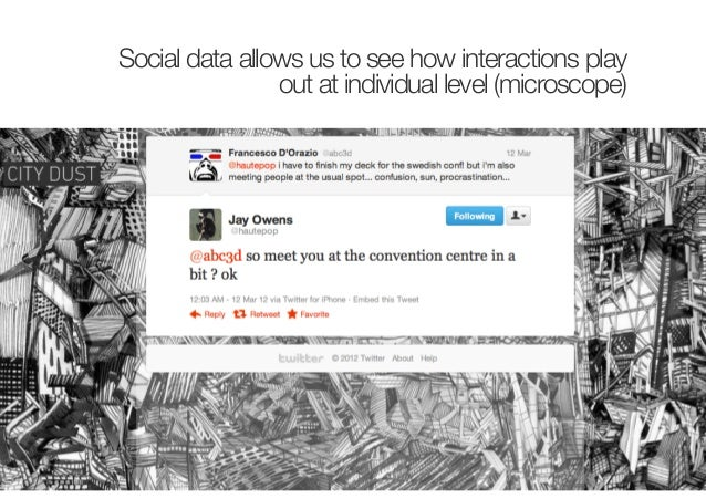 Social data allow us to see howinteractions play out at network level(the macroscope)