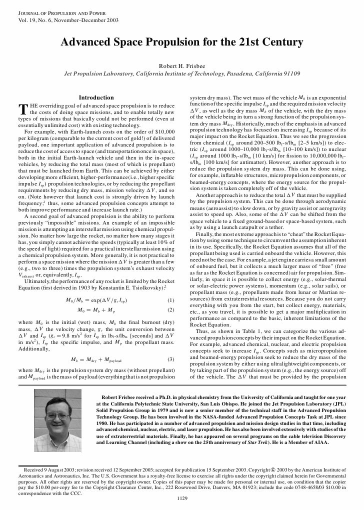 JOURNAL OF PROPULSION AND POWER Vol. 19, No. 6, November–December 2003                        Advanced Space Propulsion fo...