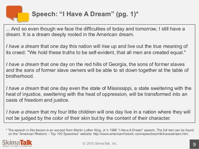 Advanced Speech Delivery Lesson 1 – I Have a Dream Speech Worksheet