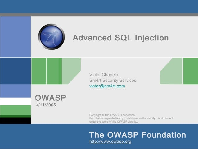 Copyright © The OWASP FoundationPermission is granted to copy, distribute and/or modify this documentunder the terms of th...