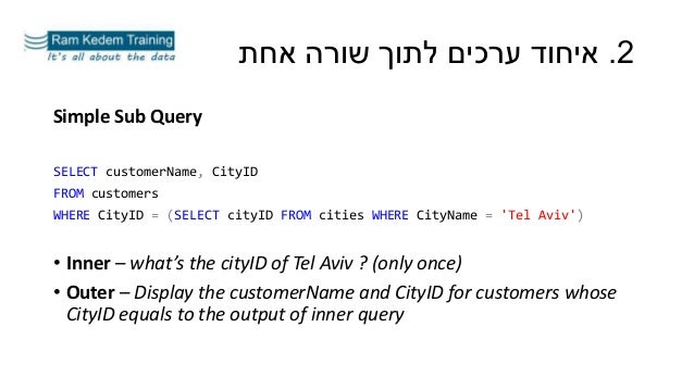 Simple Sub Query SELECT customerName, CityID FROM customers WHERE CityID = (SELECT cityID FROM cities WHERE CityName = 'Te...