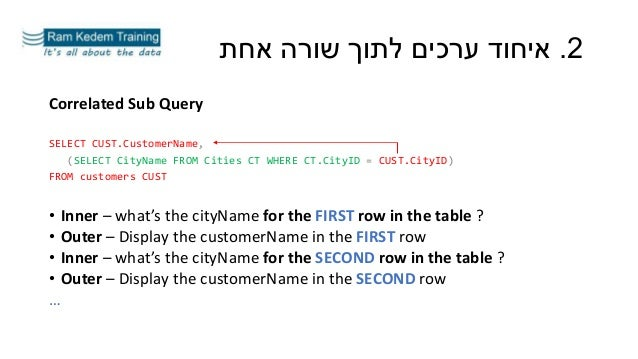 Correlated Sub Query SELECT CUST.CustomerName, (SELECT CityName FROM Cities CT WHERE CT.CityID = CUST.CityID) FROM custome...