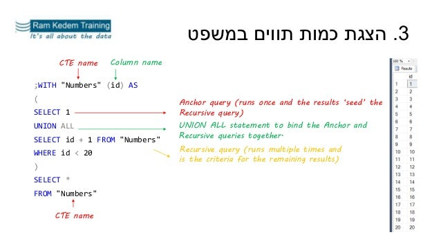 """;WITH """"Numbers"""" (id) AS ( SELECT 1 UNION ALL SELECT id + 1 FROM """"Numbers"""" WHERE id < 20 ) SELECT * FROM """"Numbers"""" 3.במשפט..."""