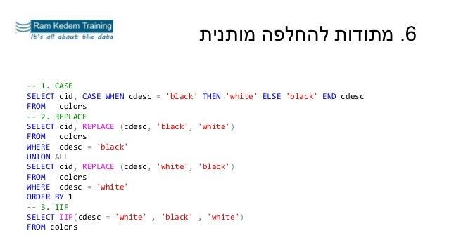 6.מותנית להחלפה מתודות -- 1. CASE SELECT cid, CASE WHEN cdesc = 'black' THEN 'white' ELSE 'black' END cdesc FROM col...