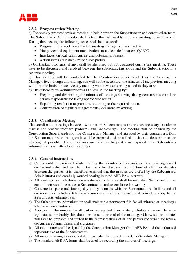 Construction Project Meeting Minutes Template Advanced Training For Management Contracts P
