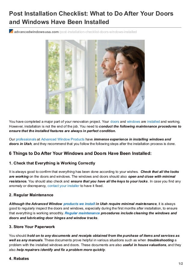 Post Installation Checklist: What To Do After Your Doors And Windows Have  Been Installed Advancedwindowsusa ...
